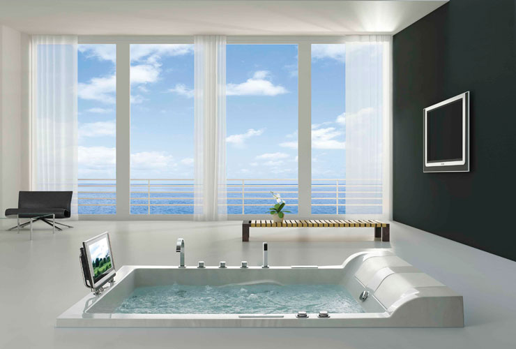 An image depicting the additional entertainment accessories installed with a premium Jacuzzi tub - Verdure Wellness