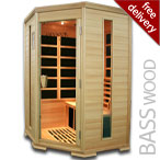 Solare Corner Infrared Sauna in Basswood