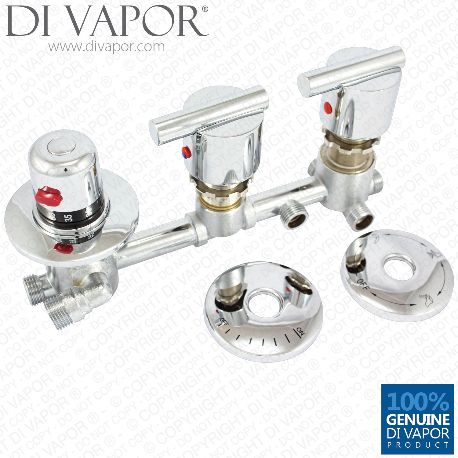 4 Way Diverter Tap Set W/ Thermostatic Valve (Profile)