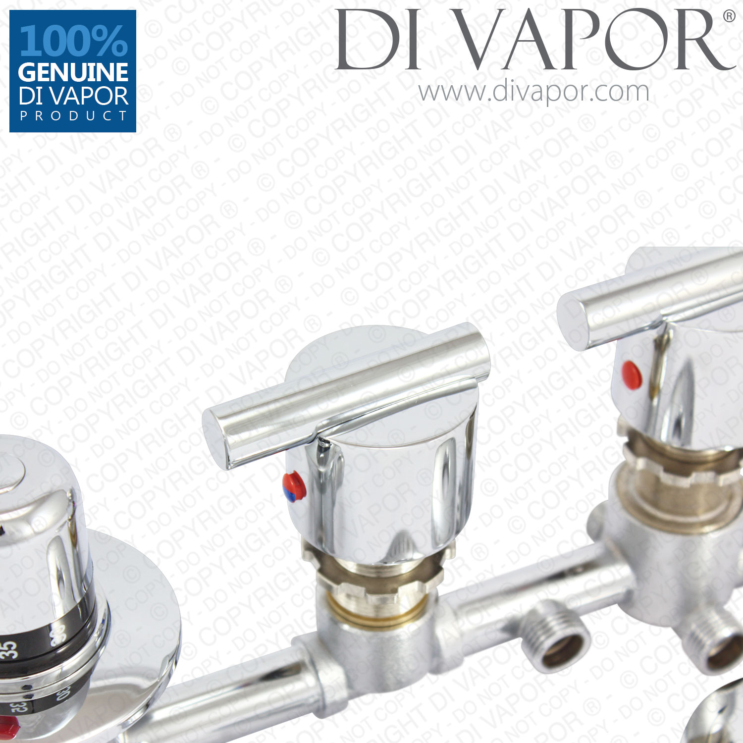 3 Way Shower Diverter Mixer Tap With Thermostatic Valve