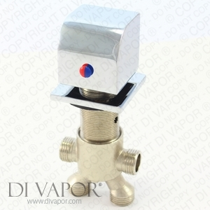 Square Deck Mounted Circular Whirlpool Bath Flow Diverter Valve Tap - Chrome