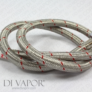 Stainless Steel Braided Hose with Flexible Tap Connector - Hot Pipe - 100cm