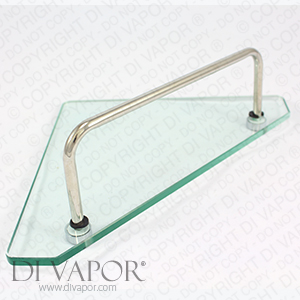 Glass Corner Storage Shelf for Shower Enclosure - 22cm x 22cm