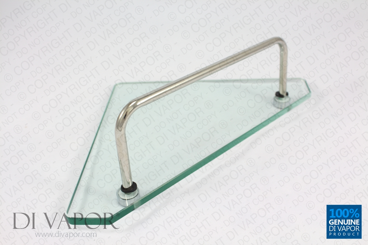 Glass corner storage shelf for shower enclosure 22cm x 22cm - Bathroom glass corner shelves shower ...