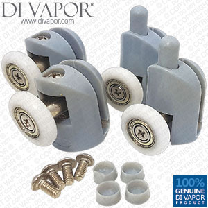 Set of 4 Shower Door Rollers Runners Wheel Cam - 2 Top and 2 Bottom 22/23/25mm