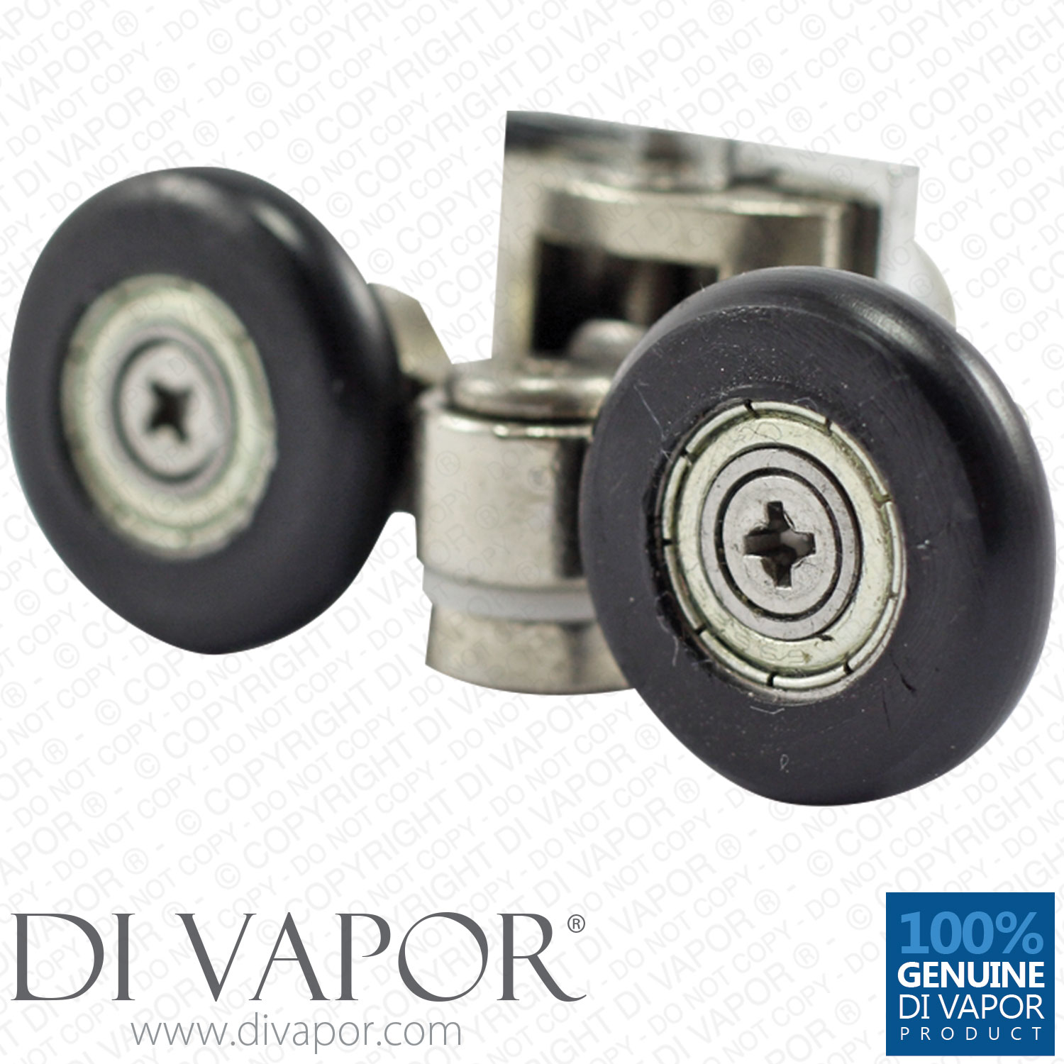 25mm Double Swivel Shower Rollers Metal Zinc Alloy