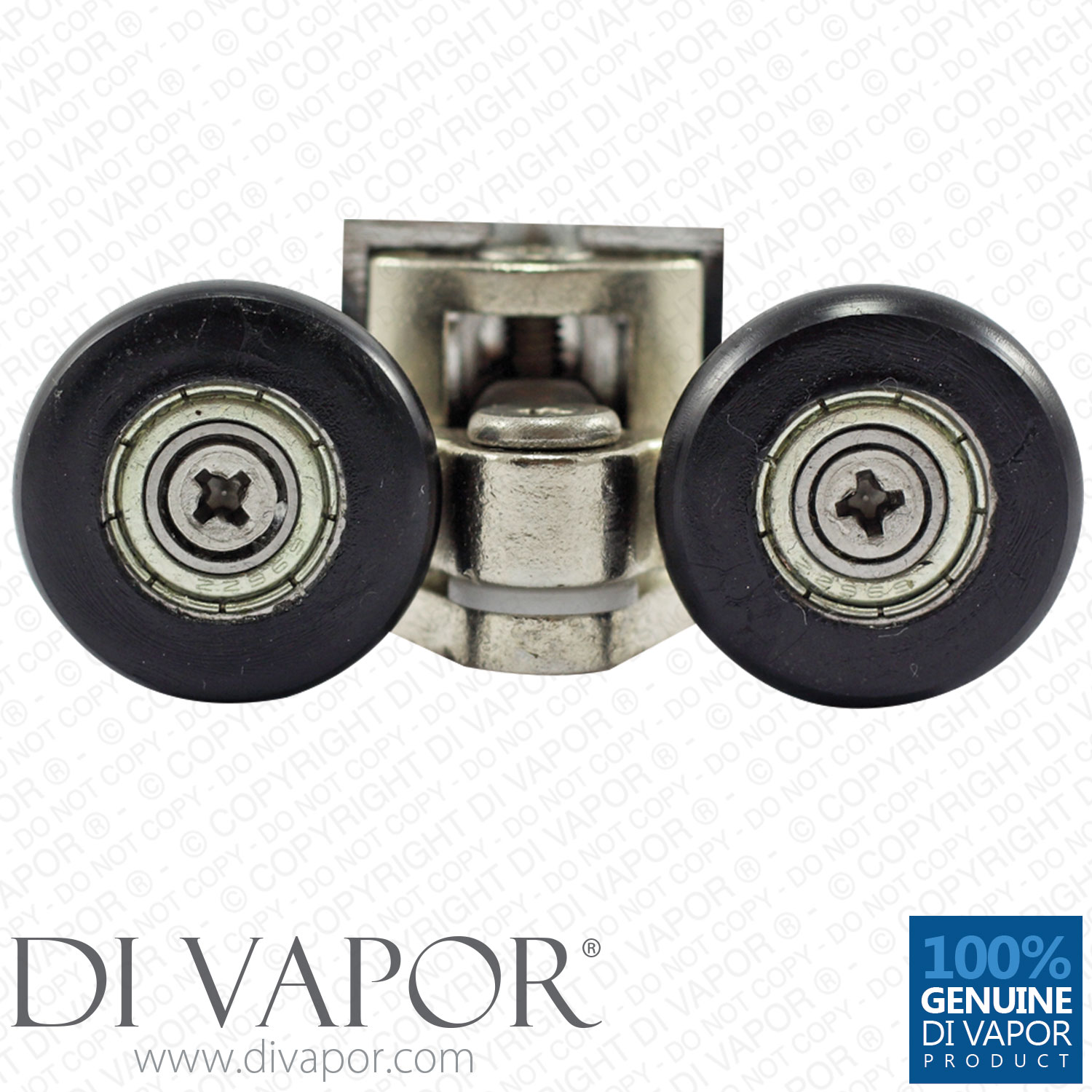 25mm Double Swivel Metal Shower Rollers Black Wheels