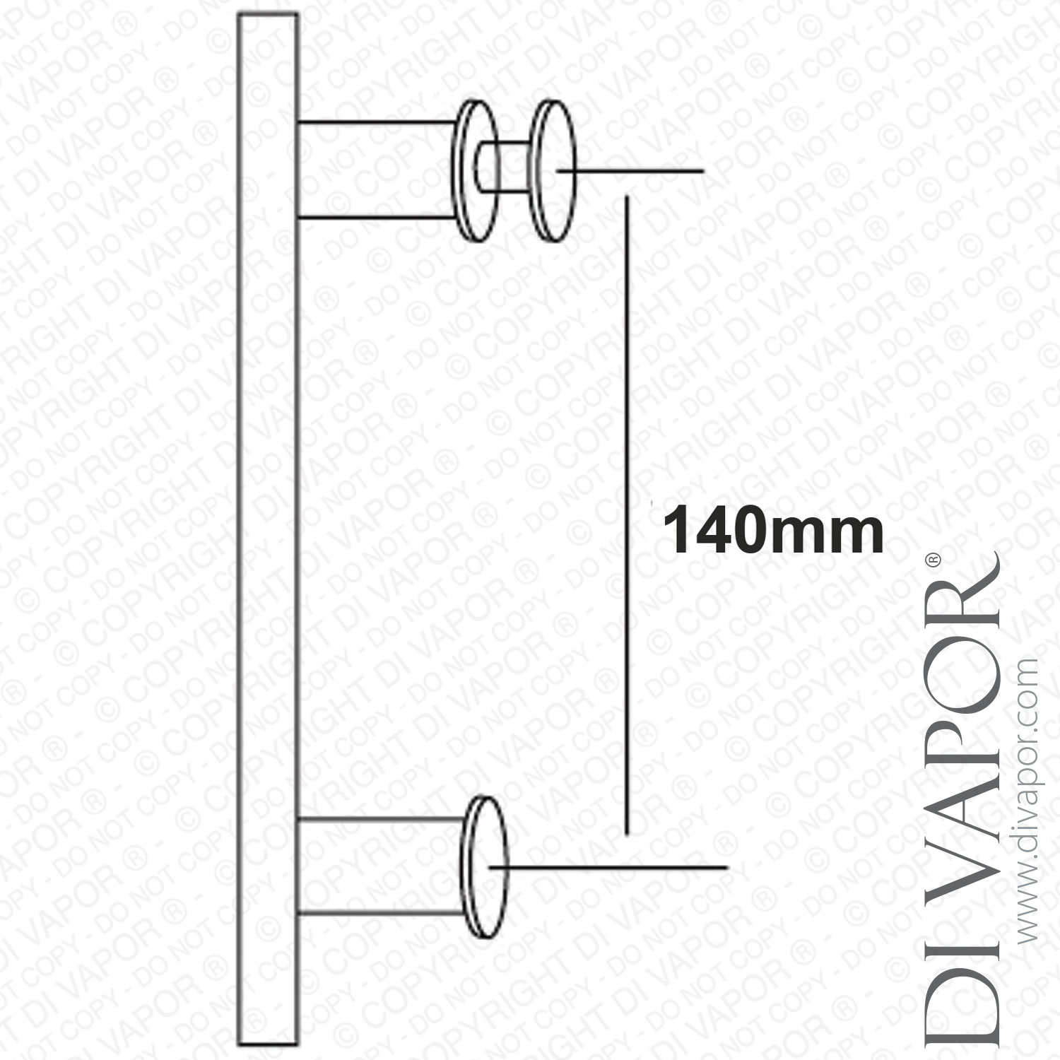 140mm Shower Door Handle | 14cm Hole to Hole | Stainless Steel