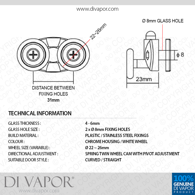 Di Vapor R Spring Double Roller For Shower Door 4mm To