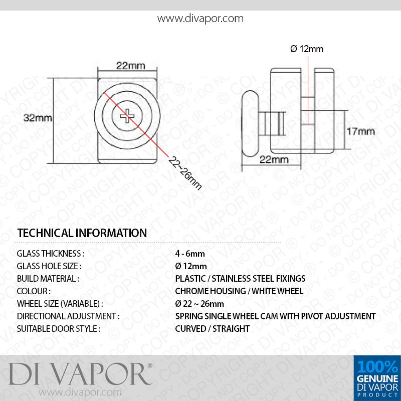 Di Vapor R Bottom Single Wheel Metal Shower Door Runner