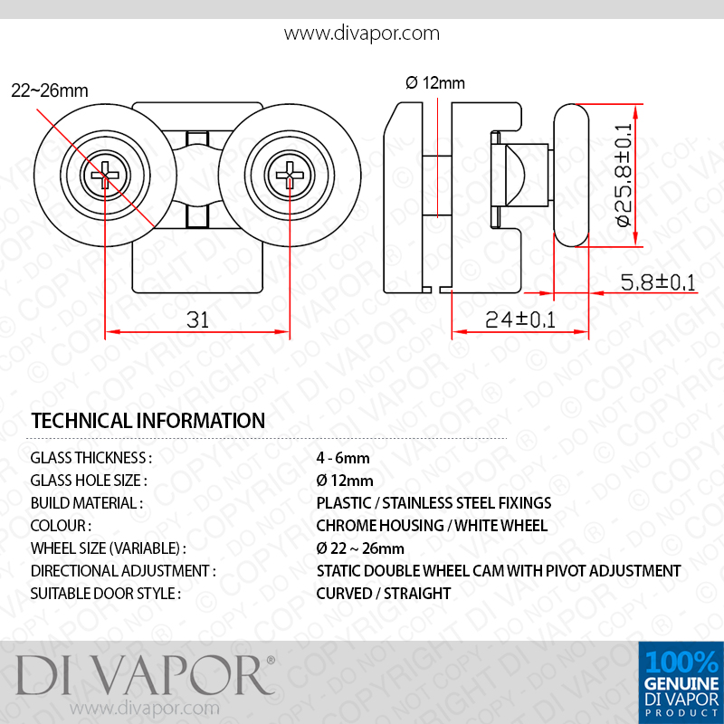 Di Vapor R Fixed Quadrant Shower Door Double Roller