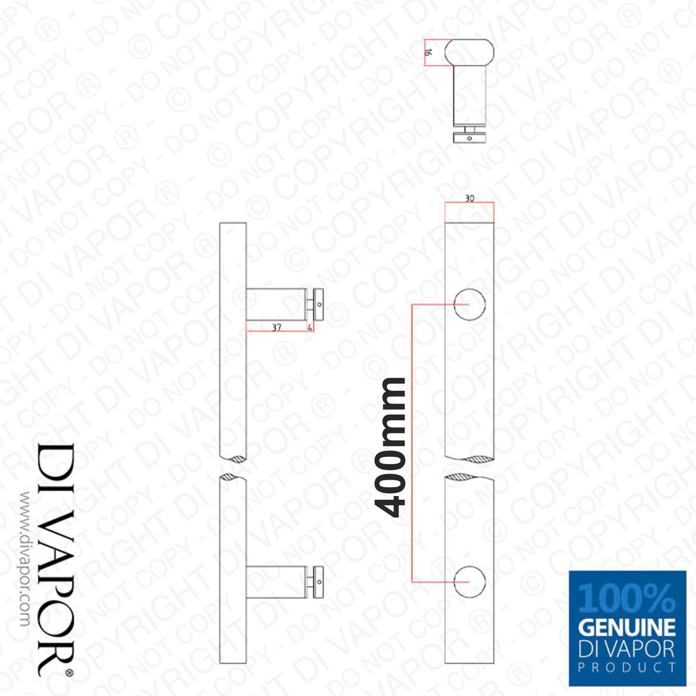 Di Vapor R 400mm Long Stainless Steel Shower Door Handle