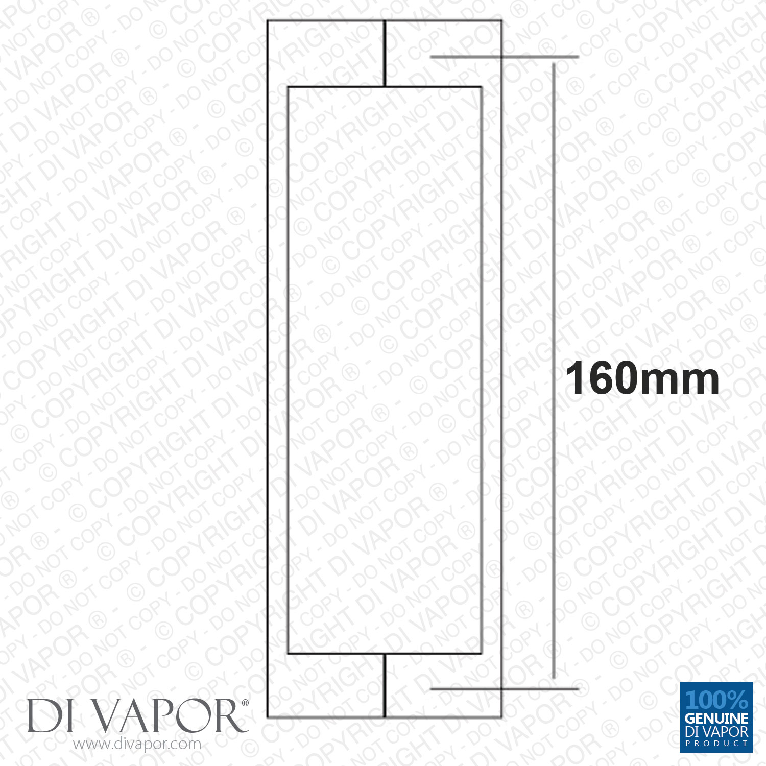Di Vapor R 160mm Solid Stainless Steel Shower Door Handle