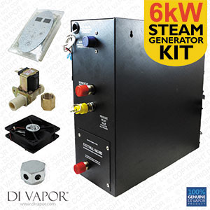 6kW Steam Room Generator Kit | Steam Generator 220V | Control panel | 1 Metre Steam Pipe