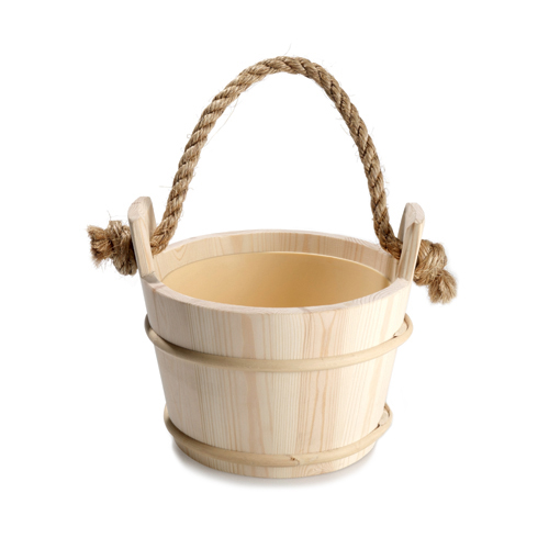 Tylo Wooden Sauna Water Bucket with Rope Handle