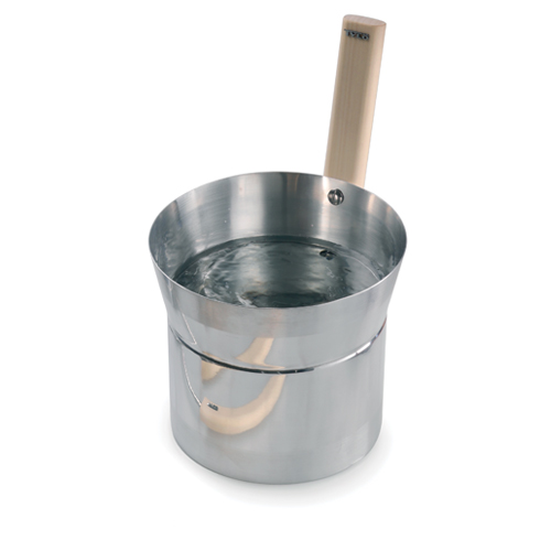 Tylo blonde stainless steel sauna bucket with wooden handle