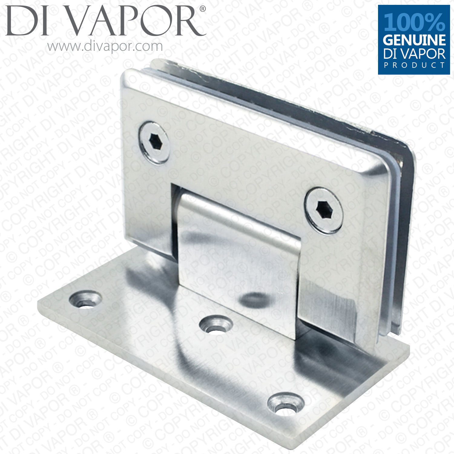 90 Degree Glass Door Hinge Bracket | Light Satin Nickel Finish ...