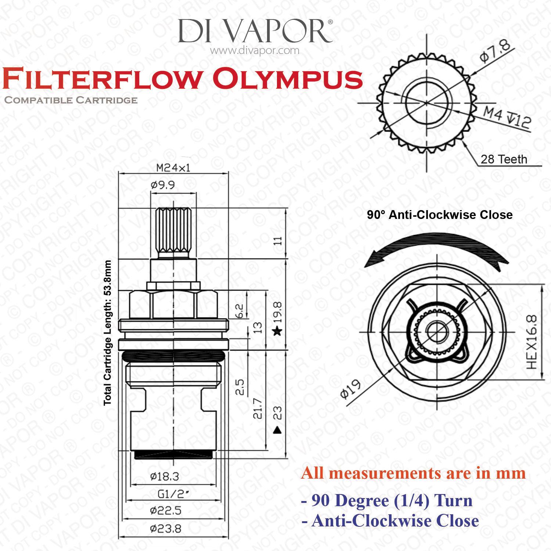 franke filterflow olympus hot valve  133 0069 365  1427r-h - 1  2 u0026quot  on  off insert gland
