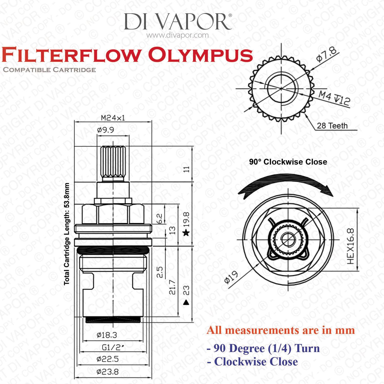 franke filterflow olympus sp3561-c cold valve cartridge  133 0194 089  - 1  2 u0026quot  bsp