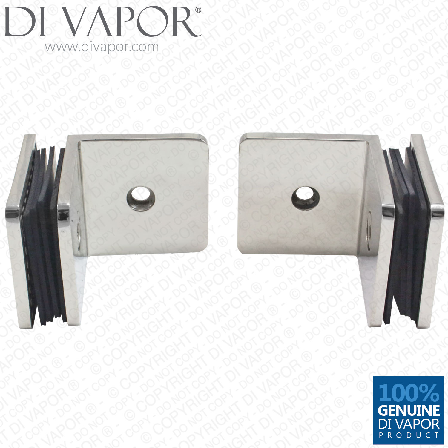 Two 90 Degree Stainless Steel Wall To Glass Bracket Clamp