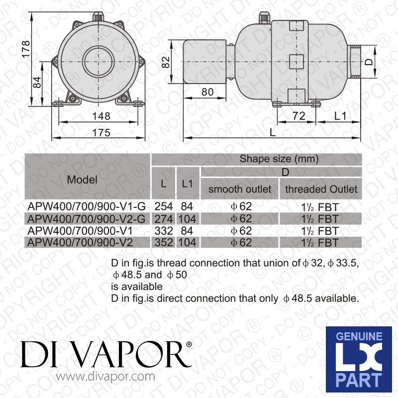 Lx Apw400 V2 Air Blower Pump 0 5 Hp