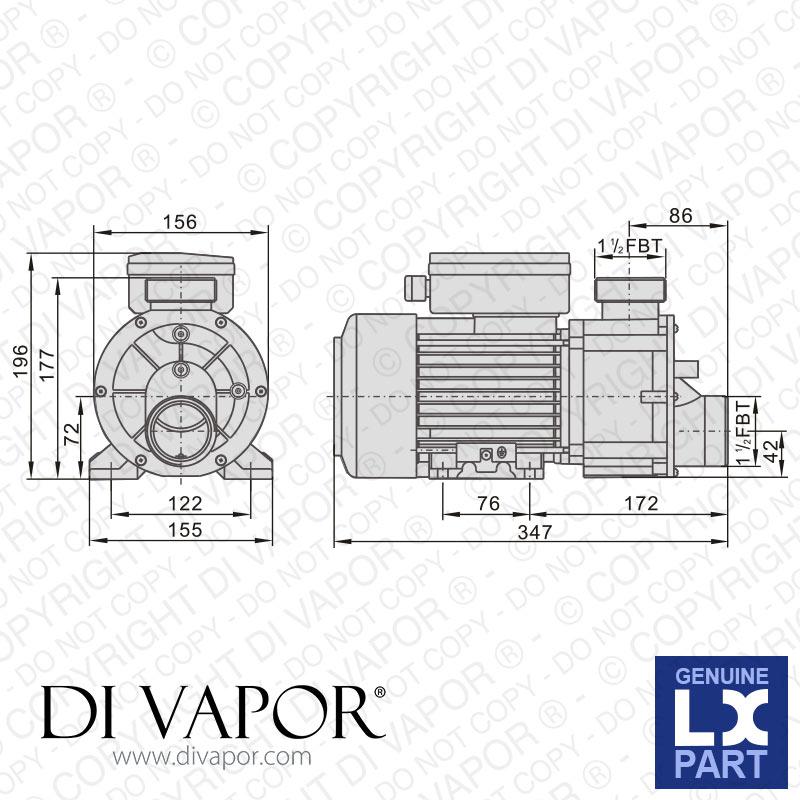 LX DH1.0 Pump 1 HP | Hot Tub | Spa | Whirlpool Bath | Water ...