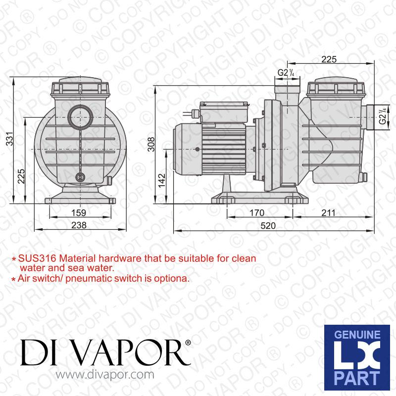 Lx Swim150 Pump 2 Hp Swimming Pool Pump 220v 50hz 7 0 Amps
