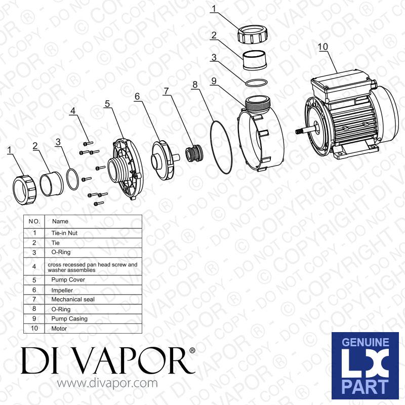 LX WTC150-AB Pump 1.5 HP | Hot Tub | Spa | Whirlpool Bath | Water ...