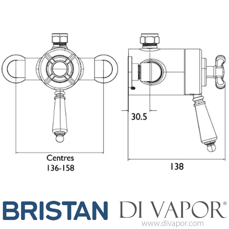 Bristan 1901 Vintage Gold Dual Control Shower Valve Top Outlet