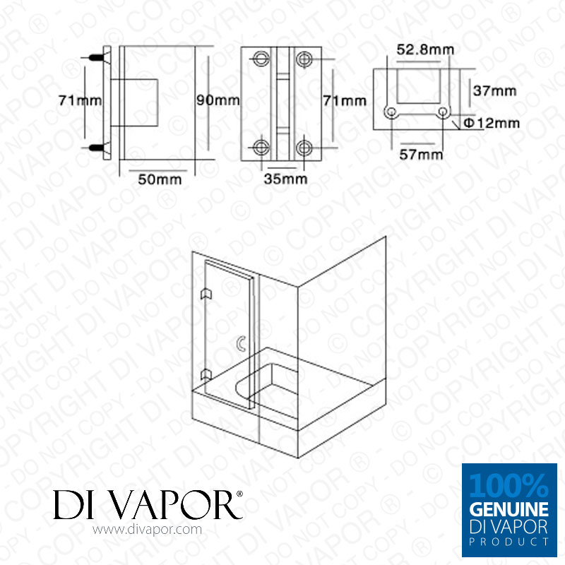 Di Vapor R 180 Degree Glass To Glass Shower Door Hinge Chrome