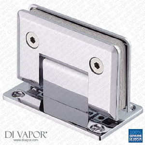 90 Degree Wall Mounted Shower Door Glass Hinge | Chrome Plated | Double Sided | Tapered Edges
