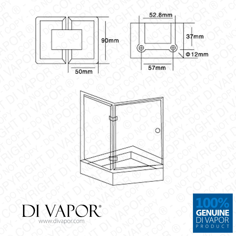 di vapor  r  135 degree glass to glass shower door hinge