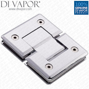 180 Degree Glass to Glass Shower Door Hinge | Chrome Plated | Tapered Edges