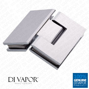 135 Degree Glass to Glass Shower Door Hinge | Chrome Plated Solid Copper | Square Edges