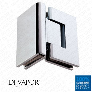 90 Degree Glass to Glass Shower Door Hinge | Chrome Plated Solid Copper | Square Edges
