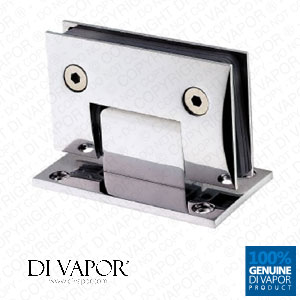 90 Degree Wall Mounted Shower Door Glass Hinge | Double Sided | Chrome Plated Copper | Square Edges | 59mm Hole to Hole
