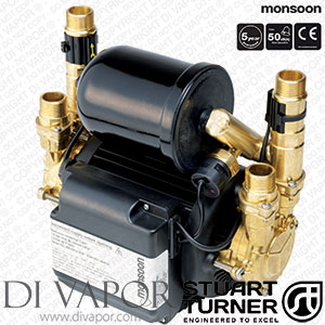 Stuart Turner 46412 Monsoon Universal 4.5 Bar Water Pump for Showers, Bathrooms, Houses and Apartments