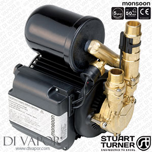 Stuart Turner 46414 Monsoon Universal 4.5 Bar Single Water Pump for Showers, Bathrooms, Houses and Apartments