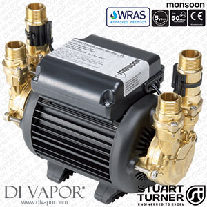Stuart Turner 46415 Monsoon Standard 2.0 bar Twin Water Pump for Showers, Bathrooms, Houses and Apartments