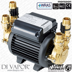Stuart Turner 46416 Monsoon Standard 3.0 Bar Twin Water Pump for Showers, Bathrooms, Houses and Apartments