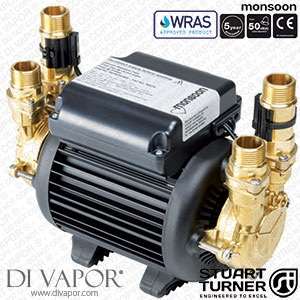 Stuart Turner 46418 Monsoon Standard 4.5 Bar Twin Pump for Showers, Bathrooms, Houses and Apartments