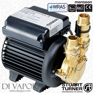 Stuart Turner 46419 Monsoon Standard 3.0 Bar Single Water Pump for Showers, Bathrooms, Houses and Apartments