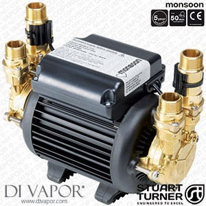 Stuart Turner 46506 Monsoon Standard 1.5 Bar Twin Water Pump for Showers, Bathrooms, Houses and Apartments