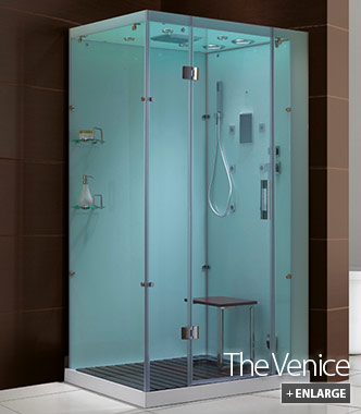Venice Glass Steam Shower Cabinet White