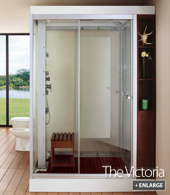 Victoria steam shower with wooden shelving